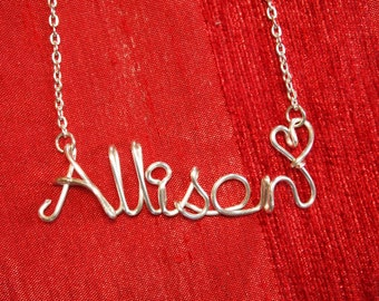 Name Necklace,Allison necklace,Personalized wedding jewelery,Birthday gift,Bridesmaid necklace,Custom Name necklace