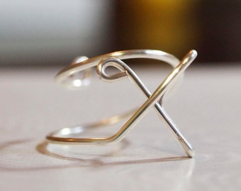 "initial ""X"" wire wrapped ring"