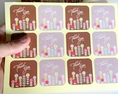 24 thank you sticker - thank you label - favor sticker - wedding thank you sticker - wedding favors - envelope seals - label seals - flowers