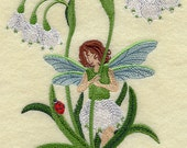 SNOWDROP FAIRY SPRING Flower Fantasy Machine Embroidered Quilt Block, Panel