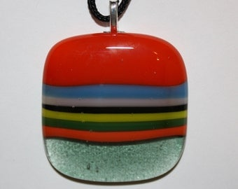 ON SALE - Handmade Pendant - Fused Glass Jewelry - Glass Necklace - Multicolored