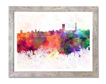 Johannesburg skyline in watercolor background- SKU 0147