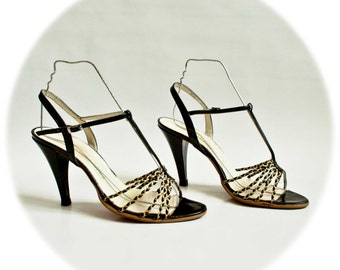 SALOME - Sandals heels high vintage 80's Pierre Chupin - size 39.5