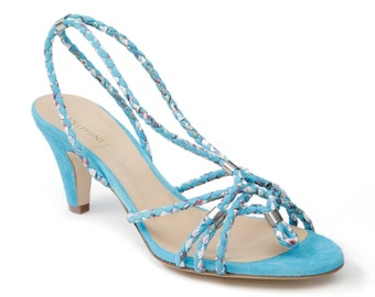 Sandal in small heel, frog braided leather & Liberty - TURQUOISE