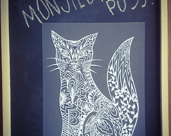 Printed 'Monsieur Puss' template for paper cutting-physical copy.