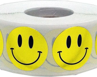 "1,000 Shiny Metallic Gold Smiley Happy Face Stickers - 1"" Inch Round"