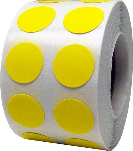 1 000 Hot Yellow Dot Stickers Small 1 2 Quot Inch Round Adhesive Labels Roll From Thedotspotlane