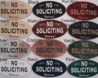 No Soliciting Sign - Laser-Engraved - UV-Rated