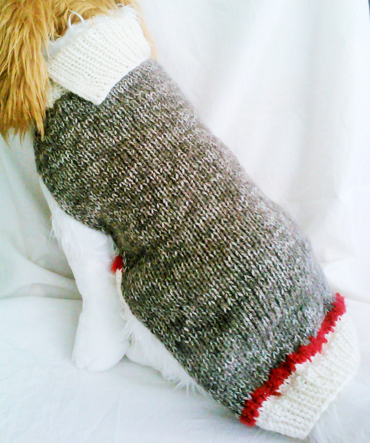 Knitting Patterns For Sock Monkey Clothes : Sock Monkey Dog Sweater / Handknit / Dog Clothing /3 Sizes