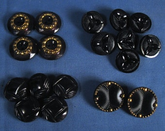 Vintage Fancy Black Buttons - Set of 18, Four different styles