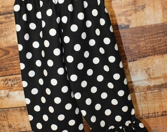 Black Polka Dot Pants,Fall Pants,Birthday Pants,Choice of Fabric