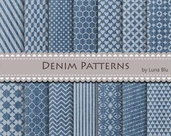 "Denim Digital Paper pack: ""Denim Patterns"" for personal and commercial use, denim textures, blue jeans, patterned paper"