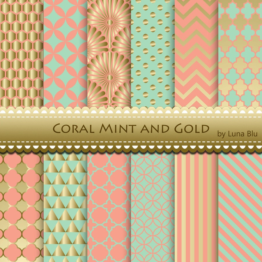 New Item Added To My Shop:Coral Mint And Gold Wedding Digital Paper: U201cCoral  Mint And Gold Patternsu201d Scrapbook Paper, For Wedding Invitation, Save The  Date ...