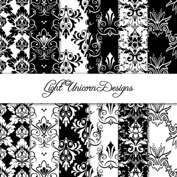 Black and White Damask Digital Scrapbook Printable Paper