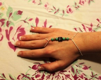 Silver chain and Turquoise slave bracelet
