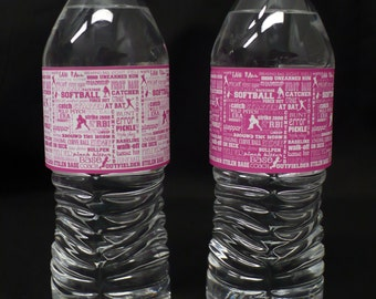 Bright Pink & White Softball Water Bottle Labels with Softball Terms--Will Customize With Your Team Colors