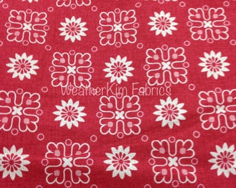 Anna Griffin FLEUR ROUGE Fabric 1 YARD Red & Ivory Premium Cotton Quilting Weight
