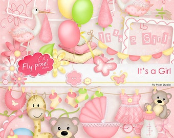 It's A Girl - Digital Scrapbook Kit - Clipart - Instant Download