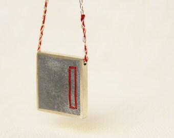 SALE 50% OFF -  Square silver Pendant, Long Concrete Necklace, Black Embroidery Necklace
