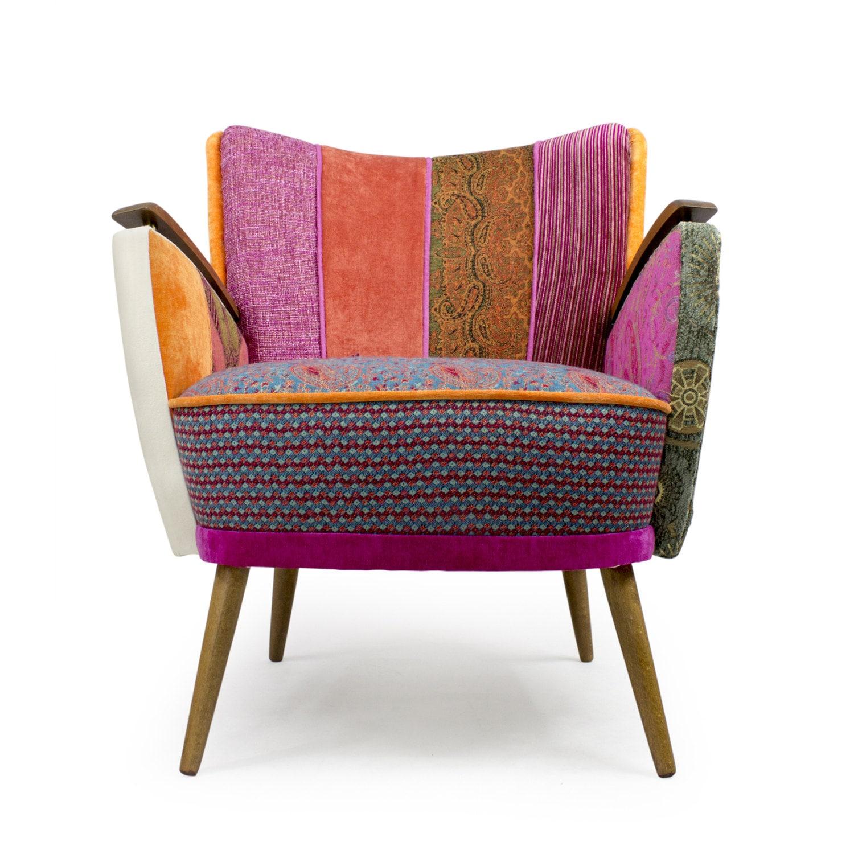Danish mid century modern patchwork armchair ma ana for Mid century modern armchairs