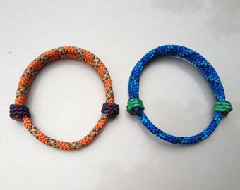 Handmade adjustable climbing rope bracelet (5mm)