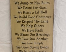 Father's Day Gift - On The Farm (Farm Rules) Wood Sign- Christmas, Father's Day,