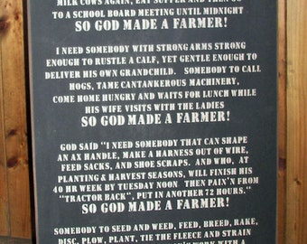 So God Made A Farmer Paul Harvey Wood Sign - Father's Day Gift, Mother's Day Gift, FFA, Christmas