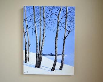 Aspens in Snow, 12x16 original acrylic winter landscape painting, winter scene, snow scene, christmas painting