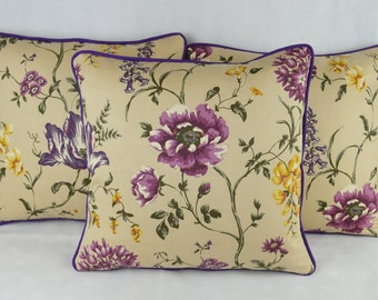 Ashley Wilde Ledbury Damson Cushion Cover 43cm x 43cm with Plum Piping