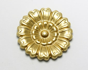 Set of 2 Brass 16mm Aster Flower Embellishments, Flower Stamping,  Made in the USA, #N141