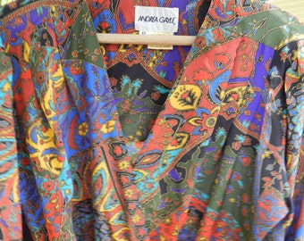 Vintage Dress Abstract Multicolors Pleated 1980s Andrea Gayle Size Medium or Large