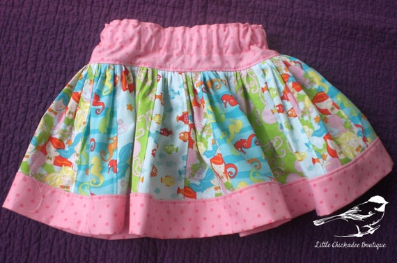 6-12 Month Mermaid Skirt Baby skirt Pink skirt Twirly skirt Summer skirt Nautical theme Ready to ship Octopus Seahorse Fishies Cotton skirt