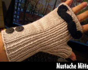Mustache Mitts Knitting Pattern