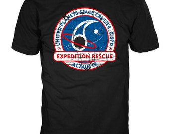 C-57D EXPEDITION Rescue t-shirt. Inspired by the 1956 film Forbidden Planet. 100% cotton black Gildan t-shirt
