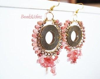 Pastel pink earrings