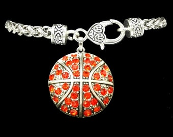 Basketball Rhinestone Charm Bracelet