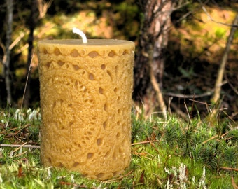 Pure Beeswax Candle. Batik Pillar Shape. 3x4 inches. Pure Unbleached Cotton Wicking.  Hand Poured.  Unscented. 100% pure beeswax.