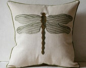 vintage dragonfly embroidered pillow cover, natural linen pillow cover, elegant and rustic couch pillowcase size 18 inches home decoration