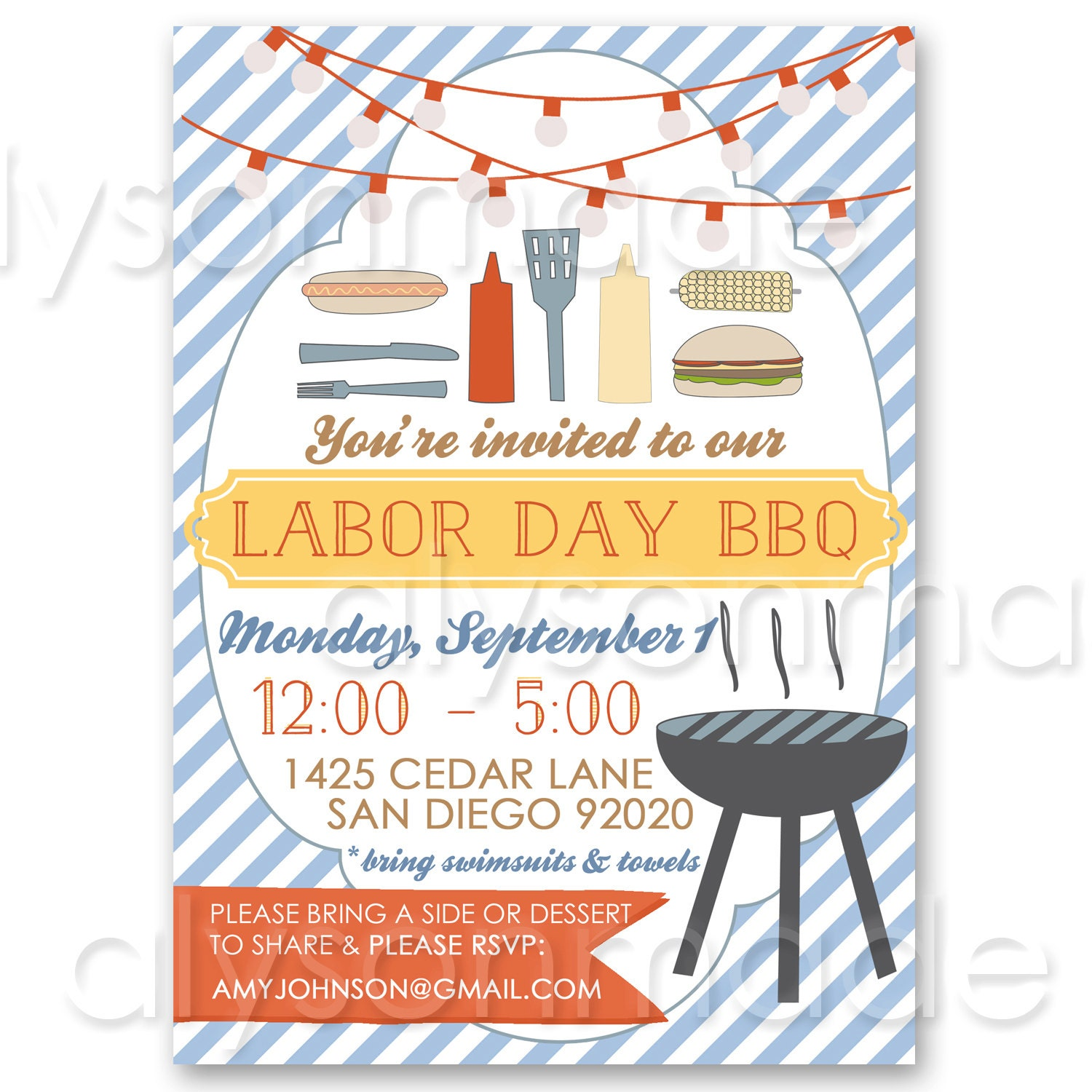 labor day bbq summer cookout invitation customized and