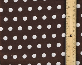 Brown Polka Dot, Fabric by the Yard, Brown Fabric,  sewing fabric, Craft Fabric