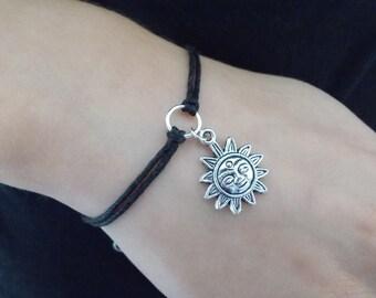 black cord bracelet silver sun bracelet fashion bracelet cord sun bracelet handmade bracelet cord jewellery sun charm bracelet gift