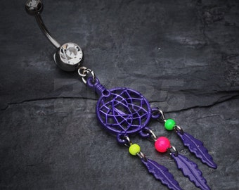Purple Enchanted Links Dream Catcher Belly Ring