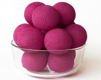 20 Loose Cotton Balls NOT INCLUDE Light String, Patio Party, Outdoor, Fairy, Wedding - Magenta
