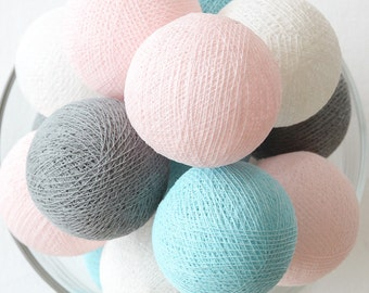 20 Loose Cotton Balls NOT INCLUDE String Lights, Patio Party, Outdoor, Fairy, Wedding Lights - Pastel Dream Blue Gray Pink