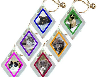 "Wine Glass Charms ""Cats"" from rescued, repurposed window glass~When you don't want to share, mark your glass!"