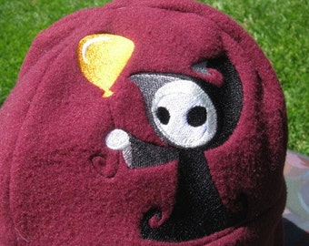 Adorable Grim Reaper Maroon Red and Black Fleece Ear Flap Hat