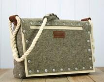 Felt satchel bag with pop rivet pocket, Unisex bag - Mens messenger bag - Womans Bag - Messenger bag - Mens satchel bag - Womans satchel bag