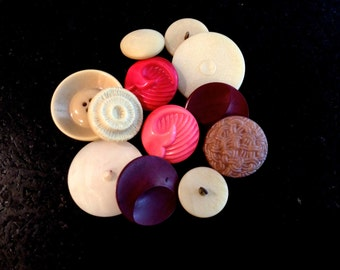Vintage Large Bakelite Buttons, Lot of 12, Molded Buttons, Art Deco Buttons,  Shank and Sew Through Buttons, Circa 1930s