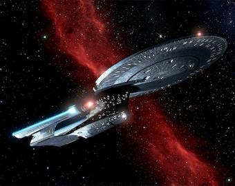 Star Trek Digital Art  Glossy Print  'Enterprise Crossing The Nebula'