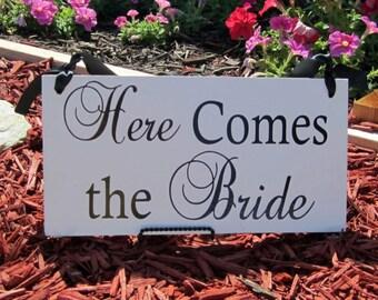Here comes the bride sign for wedding. Flower Girl, Ring Bearer.